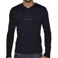 Pepe Jeans - T Shirt Manches Longues - Homme - Original Stretch Long Flock - Noir