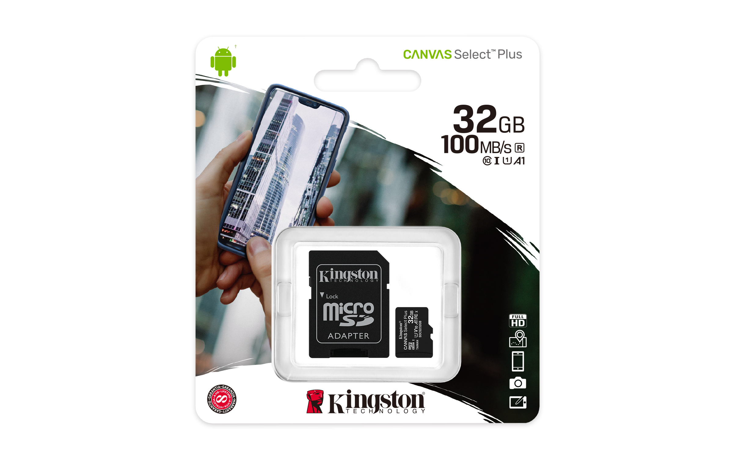 Carte mémoire micro SD Canvas Select Plus 32 Go Kingston