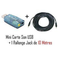 Cabling - Mini Carte Son Usb Entree/Sortie + Cordon jack M/M 10 mètres