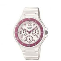 Casio - Montre Avec Bracelet Caoutchouc Et Fond Blanc Et Rose Pour Femme