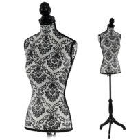 decoshop26 buste de couture mannequin femme dco vitrine noir et blanc dec04006