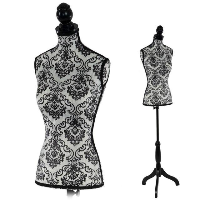 decoshop26 buste de couture mannequin femme d co vitrine noir et blanc dec04006 pas cher. Black Bedroom Furniture Sets. Home Design Ideas
