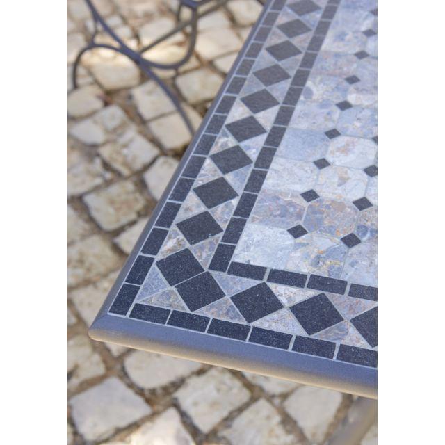 CARREFOUR - Table de jardin Mosaïque rectangulaire Noir et ...