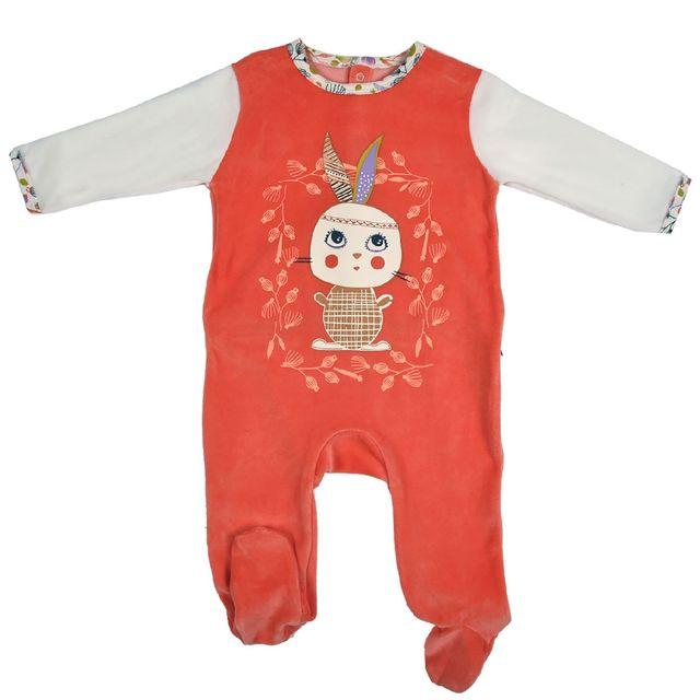 73437eac0bb8e Petit Beguin - Grenouillère bébé fille velours orange Papill - Taille - 18  mois 86 cm - pas cher Achat   Vente Pyjamas