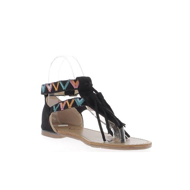 acheter en ligne 27183 c6a05 Chaussmoi - Nu-pieds femme noirs avec motifs colorés à ...