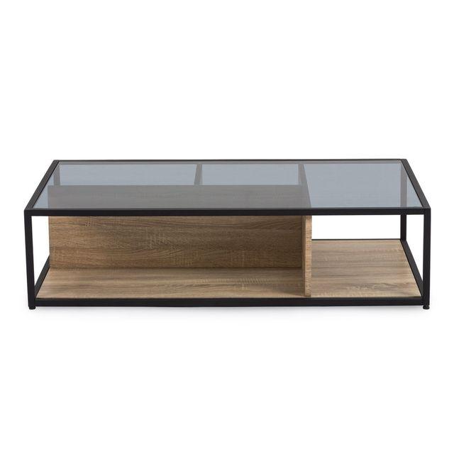 Marque Generique Table basse en bois et plateau en verre L120 cm Teytris