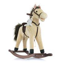 Milly Mally - Cheval à bascule interactif enfant 3+ avec jouet en peluche Mustang | Beige