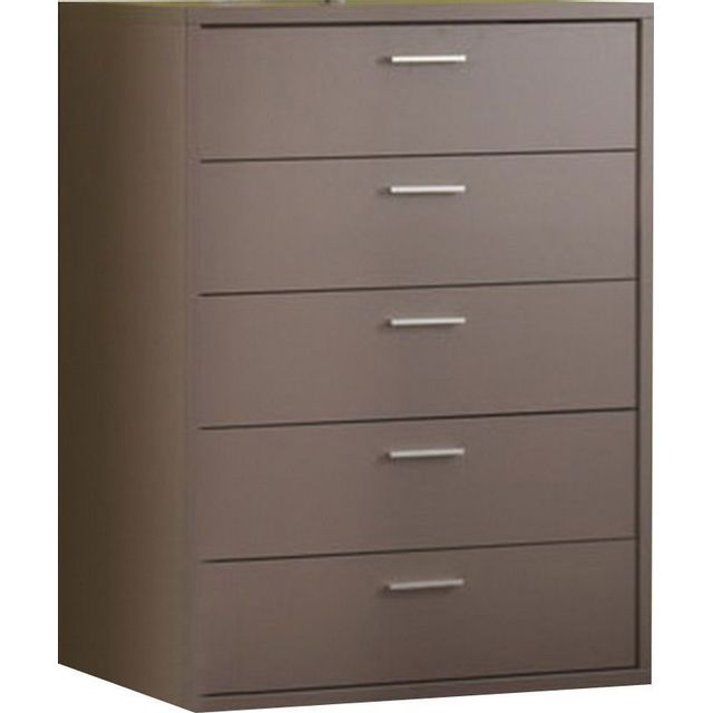 Comforium Commode 5 tiroirs de rangement coloris basalte gris