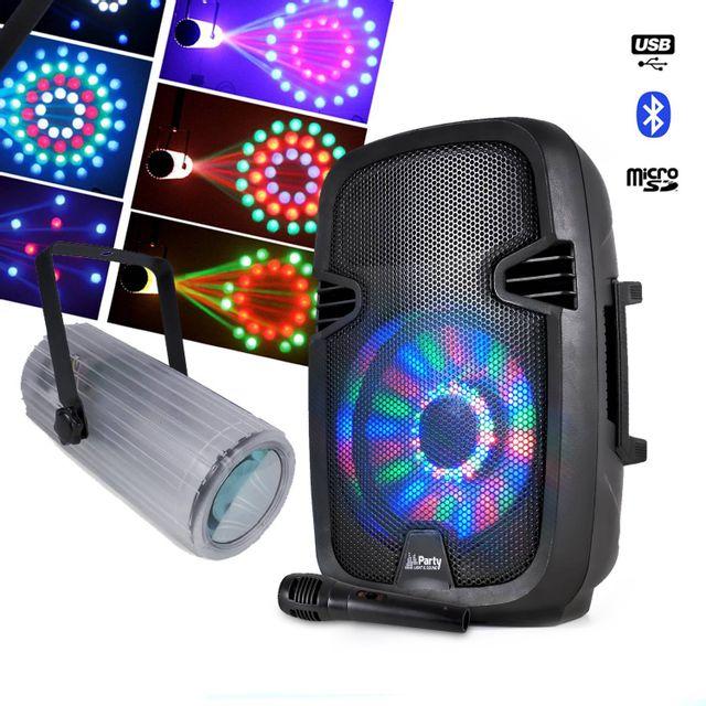 Party Sound Enceinte batterie Leds Bluetooth + MoonFlower rotatif 60 Leds Rvbbja