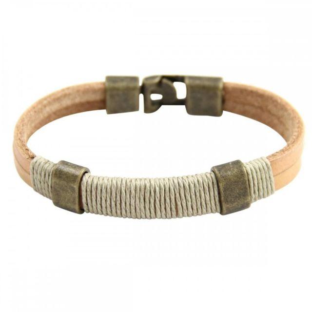 Sans Marque - Bracelet Homme synthétique Marron Beau M H 803. Matière   Cuir 7cebf0341cf1
