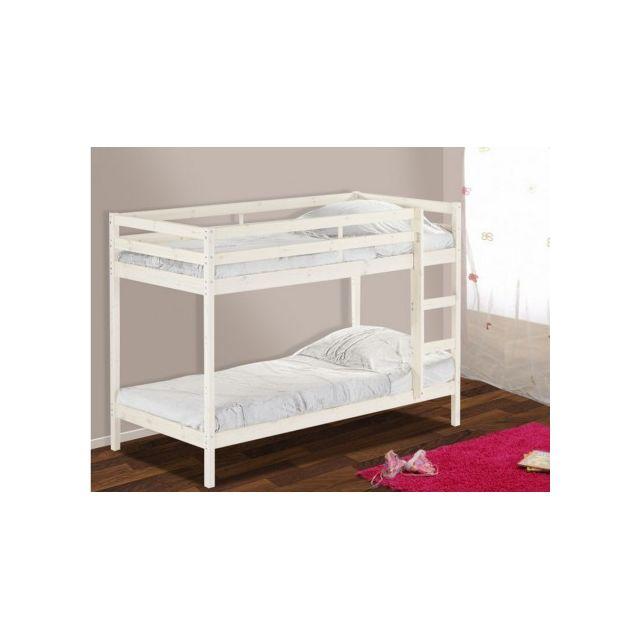 vente unique lit combin tino 90x190 cm bureau armoirette tag re sommier blanchi. Black Bedroom Furniture Sets. Home Design Ideas