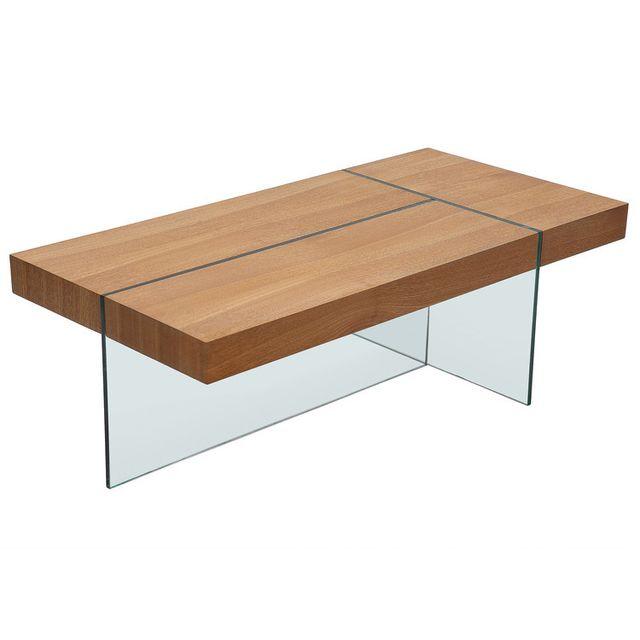 Axe Design Table basse rectangulaire en bois et verre trempé L120cm Medley - Frêne