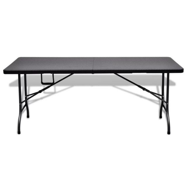Table de jardin pliable noire 180 cm imitation rotin | Noir
