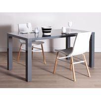 Les Essentiels By Dlm - Table à manger rectangulaire en bois laqué Longueur 160 cm Lenny - Gris