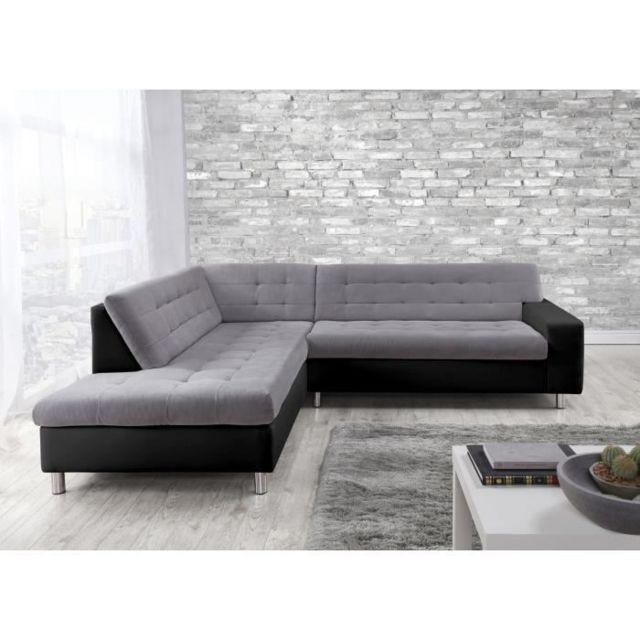 Canape Sofa Divan Java Canape D Angle Gauche 6 Places Tissu Gris Et Simili Noir Contemporain L 250 X P 95 211 Cm