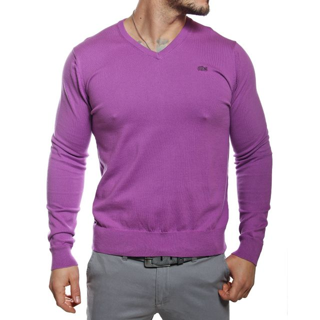 2f8ed7fde7 Lacoste - Pull homme col V lilas en coton - pas cher Achat / Vente Pull  homme - RueDuCommerce