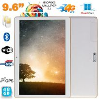 Yonis - Tablette 4G Android Lollipop 9.6 pouces Dual Sim Quad Core 48Go Blanc