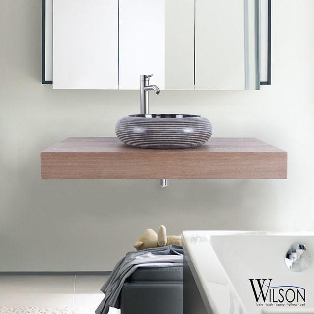 Wilson - Plan suspendu pour vasque 90 cm Chêne rustique ...
