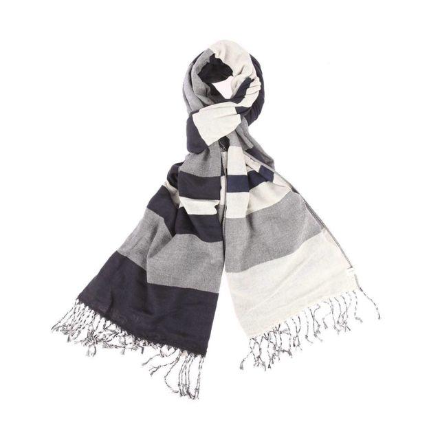 abf20db17dfe Levi S - Echarpe en coton à rayures bleu marine, blanches et grises ...