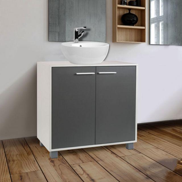 Idmarket meuble sous lavabo gris pour vasque de salle de bain pas cher achat vente meuble - Meuble pour poser vasque ...