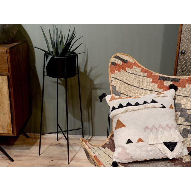 Amadeus - Coussin 100% coton L.45cm x H.45cm esprit ethnique avec pompon et frange Ailleurs Beige - 0cm x 0cm