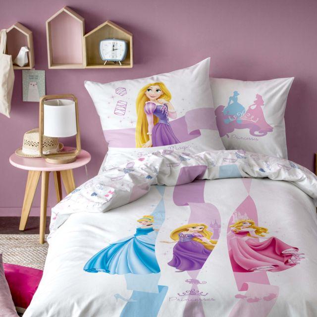 eaf0f181a24b5 Disney Princesses - Parure housse de couette pur coton Princesses Disney