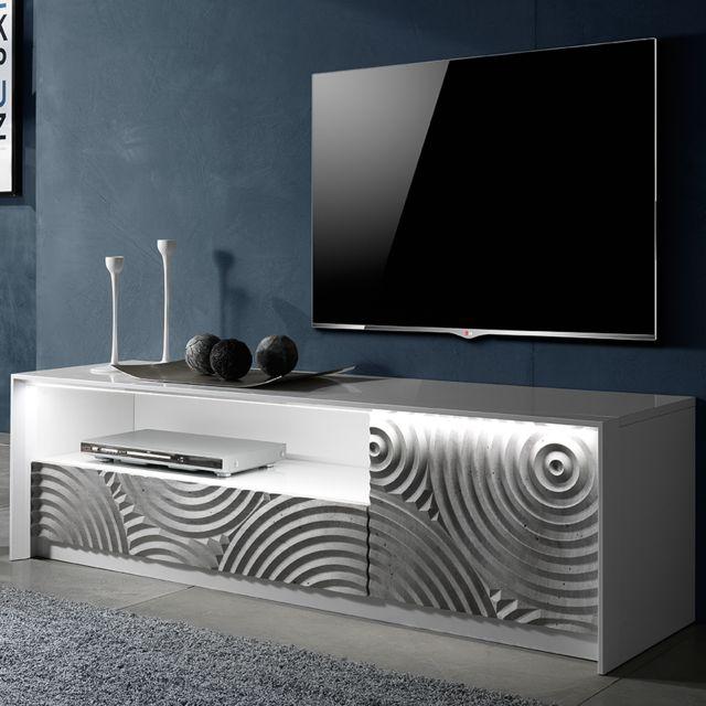 Nouvomeuble Banc Tv 150 cm blanc et gris design Torio