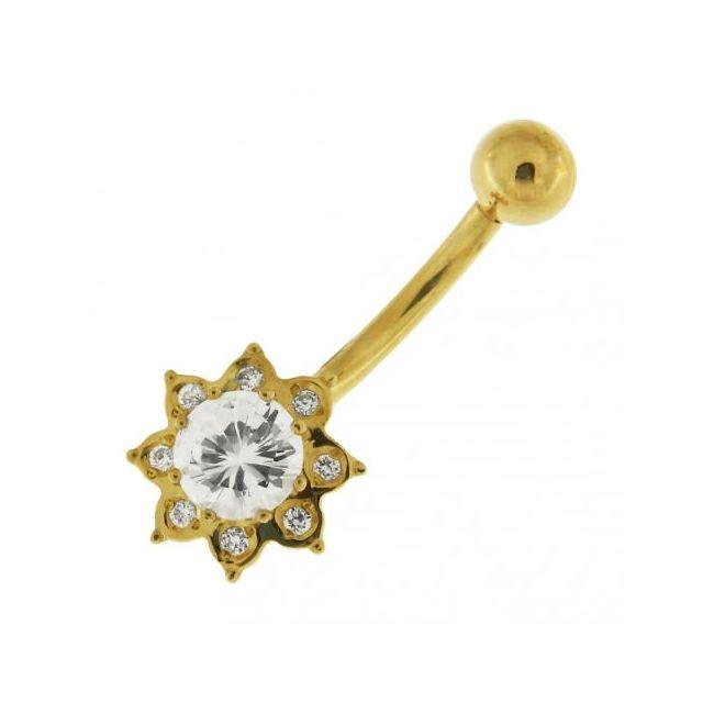 Sans Marque Bijou Pierre Précieuse Piercing De Nombril Or 14 carats Massif | Magnifique Fleur de Ziron Cubiques Eclatants de Haute Q
