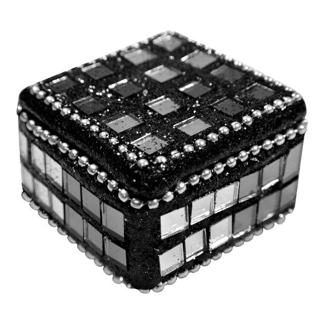 Promobo mini boite à bijoux rangement etui à bagues noir strass et  paillètes n°2 aac7a329293e