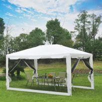 OUTSUNNY - Tonnelle barnum style colonial imperméable 4 x 3 x 2,45 m 4 moustiquaires blanc et noir neuf 22