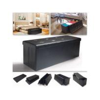 IDMARKET - Banc coffre rangement PVC noir 100x38x38 cm pliable