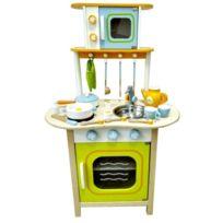 Marque Generique - Cuisine en bois avec four micro-ondes et accessoires jeu d'imitation enfant | Multicolore