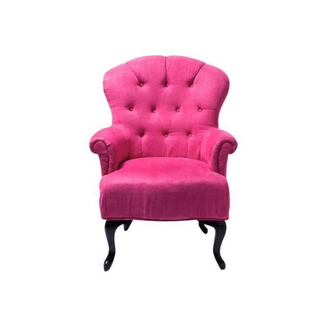 Declikdeco Meublez votre intèrieur avec des allures de suite princière! Ce fauteuil baroque capitonné Fushia ajoutera une touche dé