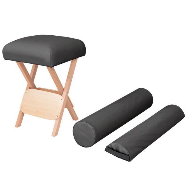 Moderne Massage et relaxation gamme Kigali Tabouret de massage siège 12 cm d'épaisseur 2 traversins Noir