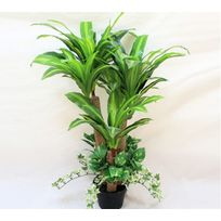 No Name - Plante artificielle – Dracaena avec lierre décoratif – Hauteur 100cm