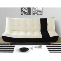 MARQUE GENERIQUE   Canapé Clic Clac 3 Places En Simili Et Tissu VINCENT    Noir