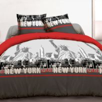 Vision - Housse de couette 220x240 + 2 taies New York rouge 100% coton