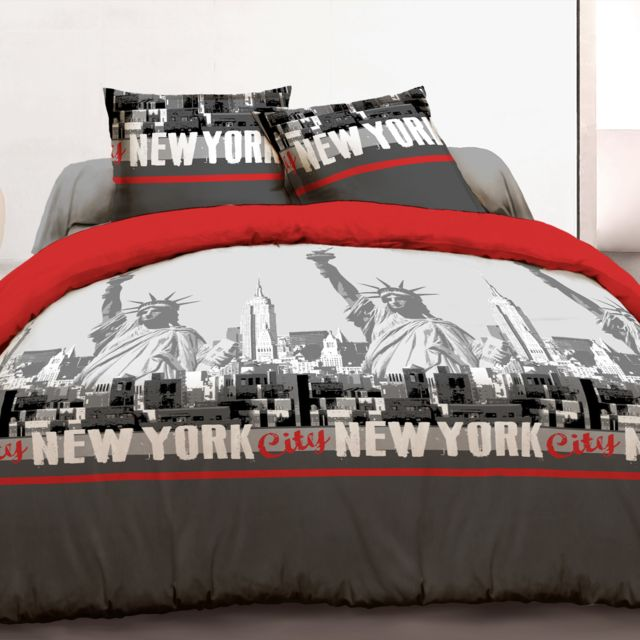 Vision Housse De Couette 220x240 2 Taies New York Rouge 100
