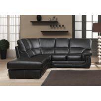 Modern Sofa - Canapé cuir angle gauche noir