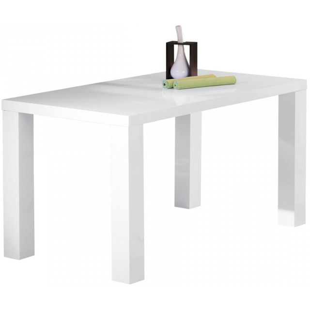 Comforium Table design rectangulaire blanc laqué 160x80cm