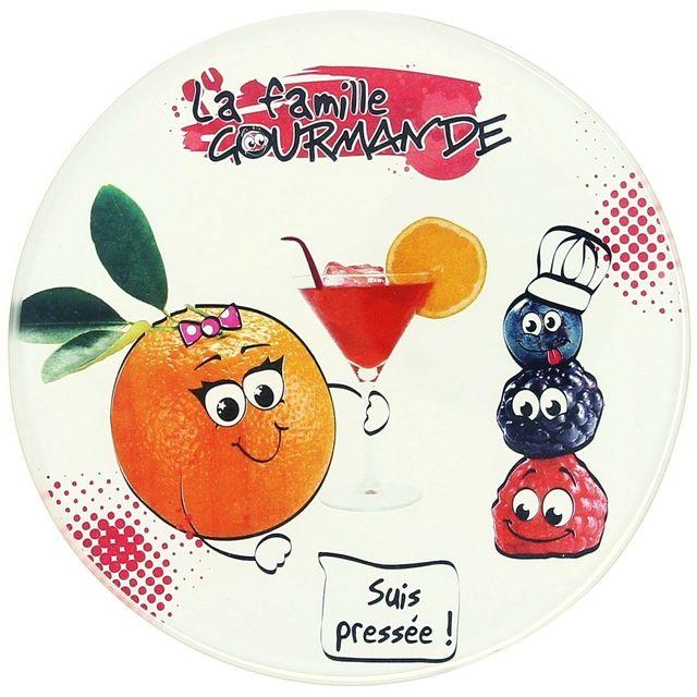Promobo Lot Set 6 Dessous De Verre Design Fun Imprimé Ludique Famille Gourmand Rond