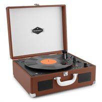 AUNA - Peggy Sue Lecteur vinyles & CD portable style rétro USB SD valise - marron