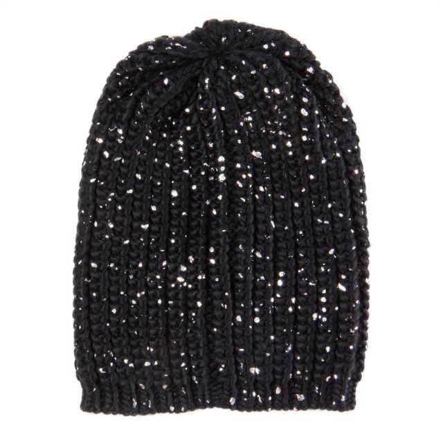 4cbe89523c4b Red Soul - Bonnet noir et argent femme - pas cher Achat   Vente Casquettes,  bonnets, chapeaux - RueDuCommerce