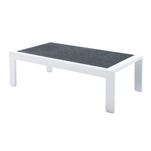 wilsa table basse orlando stone blanc en aluminium gris 122cm x 36cm x 60cm pas cher achat. Black Bedroom Furniture Sets. Home Design Ideas