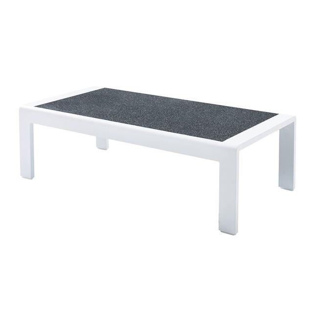 Wilsa Table Basse Orlando Stone Blanc en aluminium