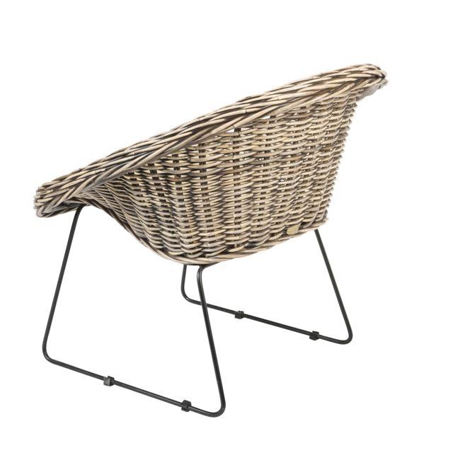 Rotin-design - Soldes: -40% Fauteuil Segur en kubu tressé et pieds métalliques - Rotin Design Bois naturel