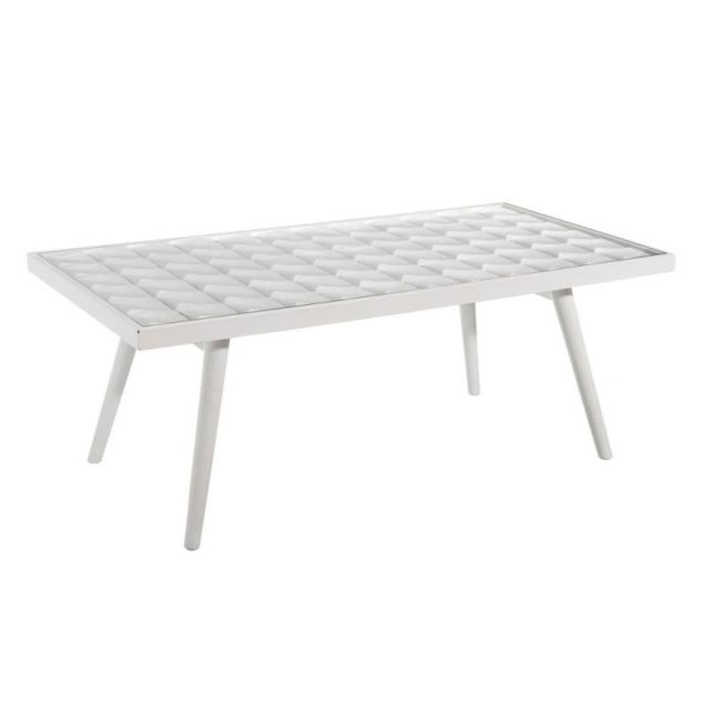 Tousmesmeubles Table basse Bois/Verre Blanc - Looping