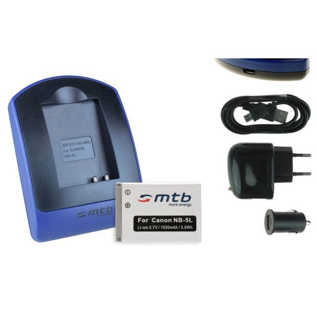 Mtb more energy® batterie chargeur usb nb 5l pour canon ixus 960 is 970 is 980 is