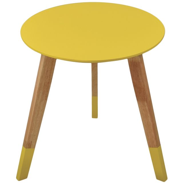 Incidence - Table Ronde Scandinave - Colorama - Jaune 39.5cm x 39.5cm x 40cm