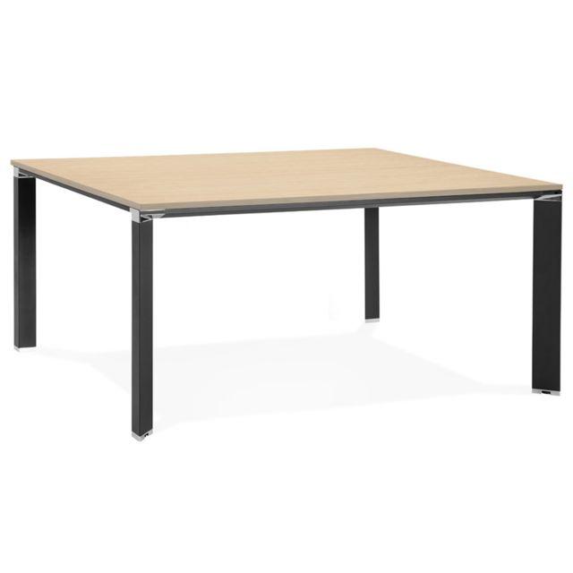 Pegane Bureau design / table de bureau en bois mélaminé coloris naturel - 160 x 160 x 74.5 cm